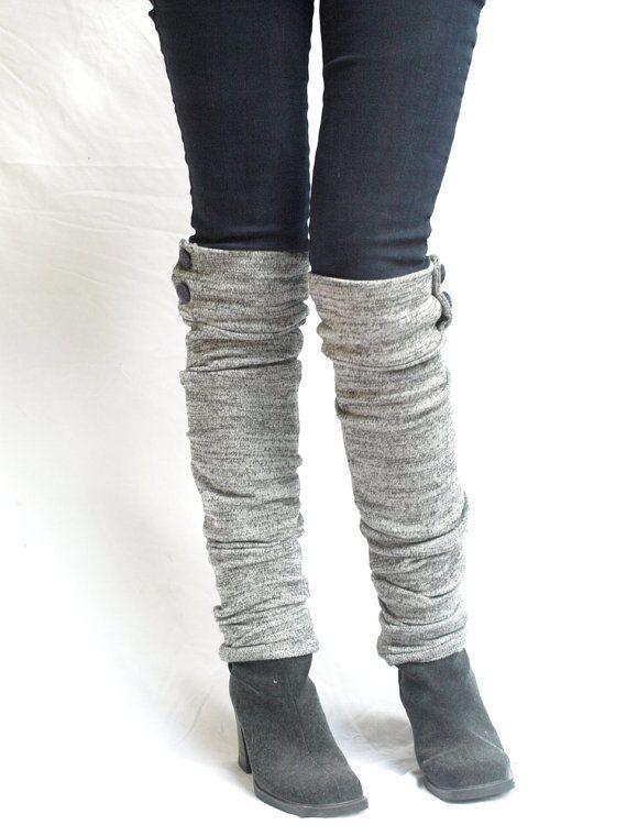 Gray knit military leg warmers   Damen mode, Armreif und Stulpen