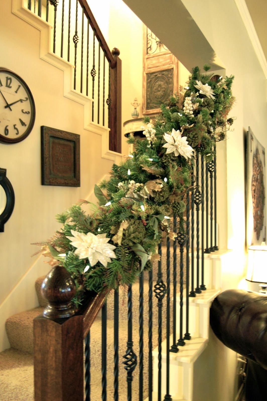 Christmas staircase google search christmas - Christmas decorations for stair rail ...