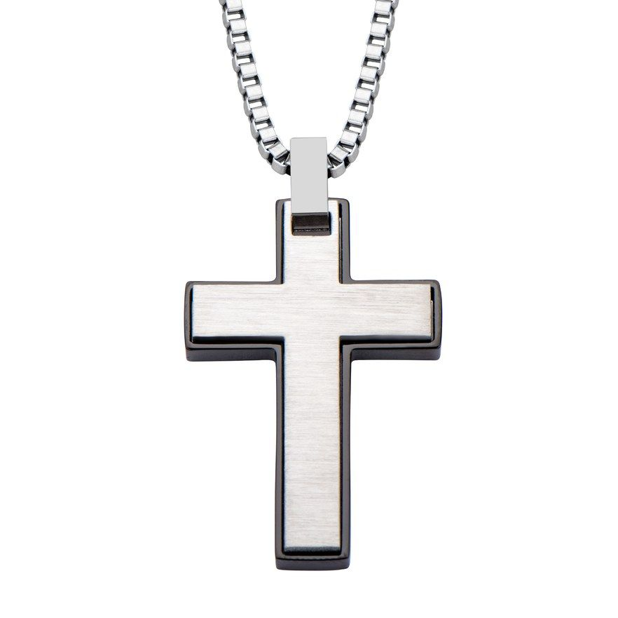 c42dbcba424eb Men's Black Stainless Steel Cross Pendant Necklace in 2019 ...