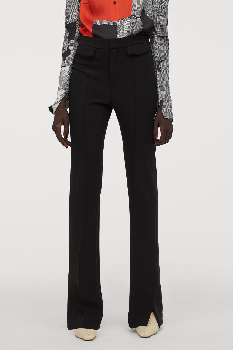 Fitted Slim Fit Pants Black Ladies H M Us Slim Fit Pants Black Patterned Leggings Dressy Leggings