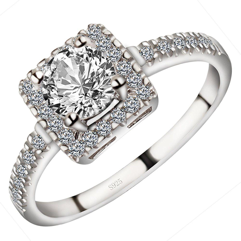 925 Sterling Silver Dazzling Round-Cut Simulated Diamond Stunning Wedding Engagement Bridal Ring 20PKnJl