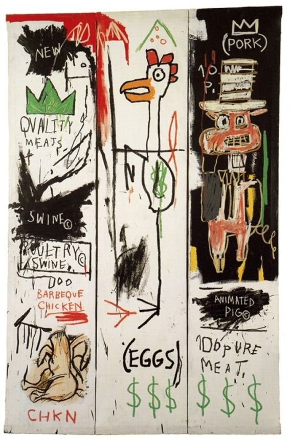 """Quality Meats for the Public"" (1982), by Jean-Michel Basquiat. 3 panels"