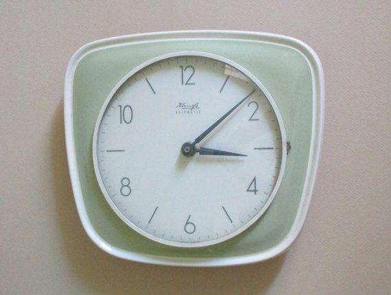 Atomic Age Kienzle Green Ceramic Wall Clock Light Green Etsy Wall Clock Light Vintage Wall Clock Green Ceramics