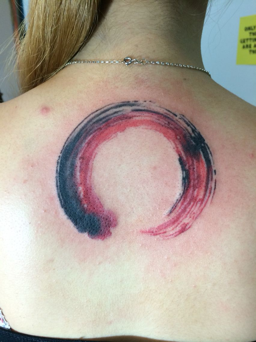 and black brush stroke enso circle from
