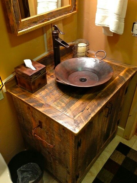 Nice Gold Pan Sink Rustic Bathrom Pinterest Sinks