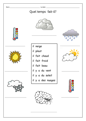weather phrases to match and write out under pictures francais french teaching resources. Black Bedroom Furniture Sets. Home Design Ideas