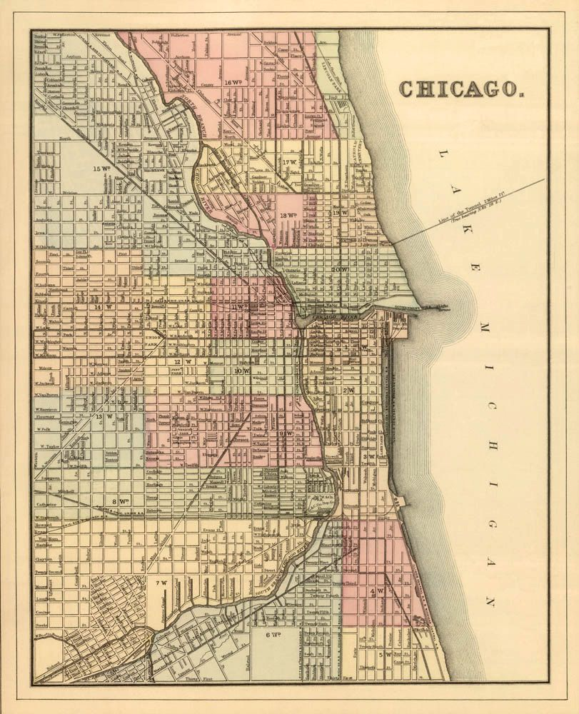 Antique map   Vintage map of Chicago   Archival print   Antique