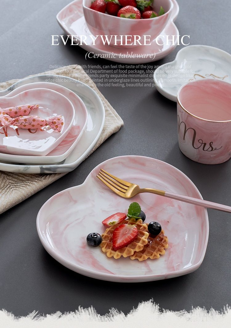 Marmor Keramik Teller Set Herr Frau Herzform für Lebensmittel Dessert Brot Teller Schmuck Stora ...