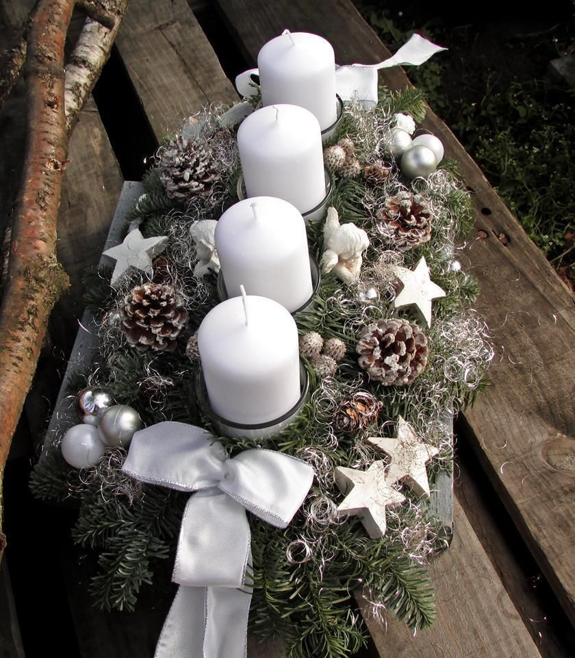 Schön Adventskranz Adventsgesteck Frisch Weiß Große Kerzen 100x60mm Engel  Weihnachten   EBay