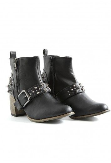 Taima Studded Buckle Ankle Boots- footwear- missguided