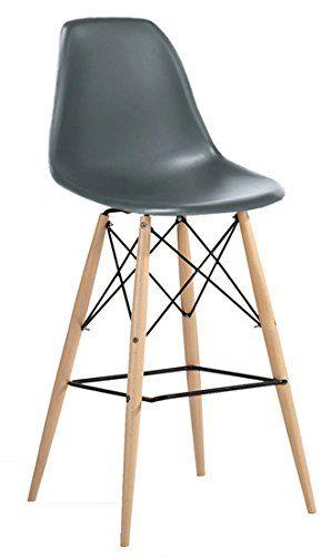 Molded Plastic Eiffel Counter Stool with Dowel Legs - Grey AID