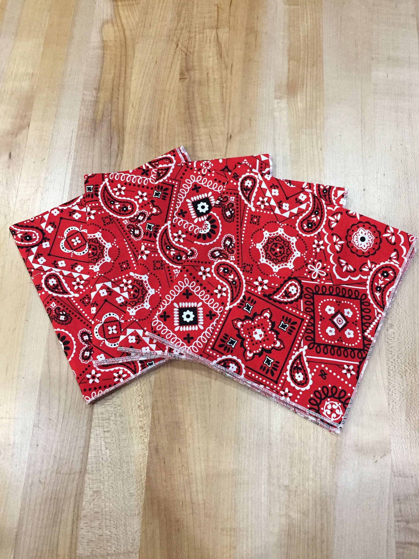 Cloth Napkins Set Of 4 Napkins 13 Napkins Red Bandana Print Everyday Lunch Small Cloth Napkins In 2020 Red Bandana Bandana Print Cotton Quilting Fabric