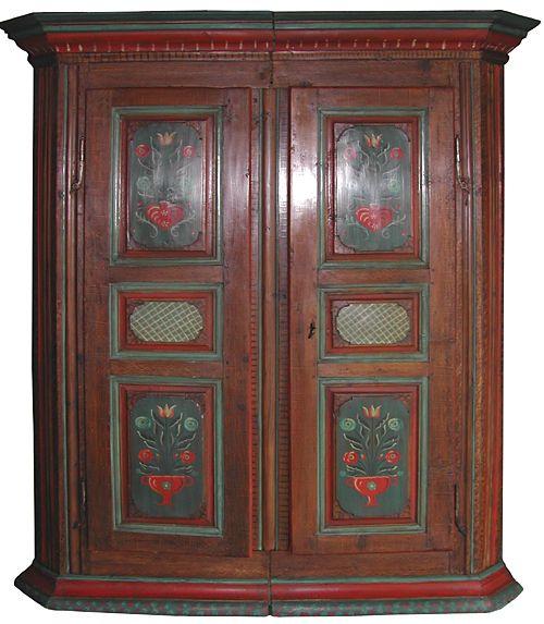 armoire du XVIIIe siècle en polychromie alsacienne par Jean-Claude - meuble en bois repeint