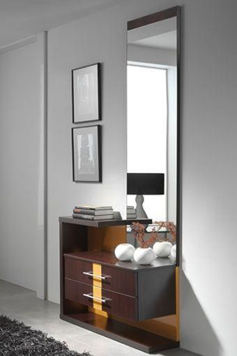 Mueble moderno para entrada de l neas rectas y actuales for Espejos originales recibidor