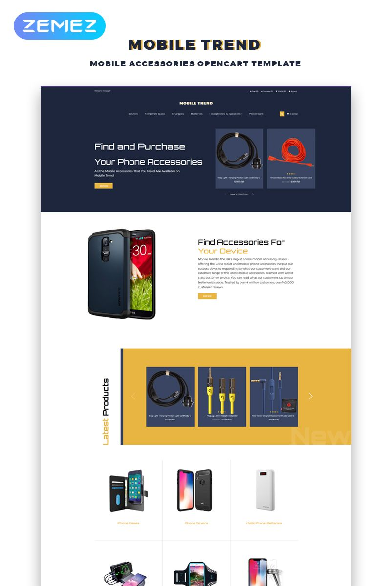 Mobile Trend Mobile Accessories Store Modern Opencart Template