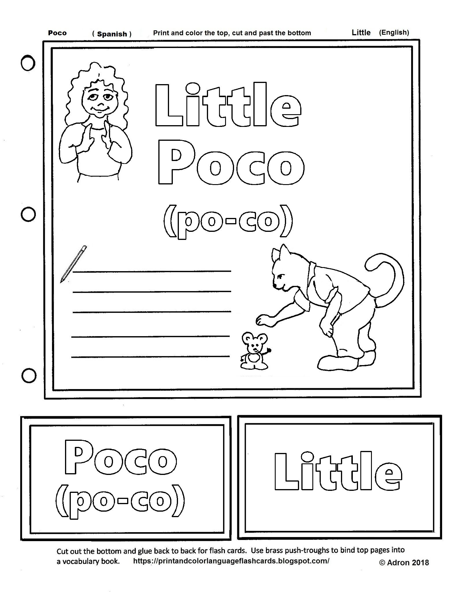 Flashcard For The Spanish Word Poco Little In English