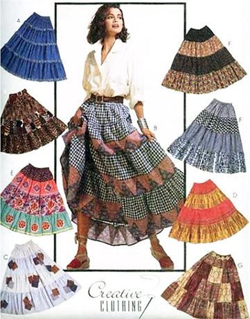 McCalls 6840 Misses Skirts Copyright 1993 Pull-on four-tiered skirt has fold back waistline casing with two rows of elastic; instructions included for pleating skirt using broomstick.   Size Large/Ex-Large 20-22   Waist 34-37   Hips 44-46   UNCUT   PATTERN DISCOUNTS!! FREE SHIPPING OFFER!!! Buy 3 patterns or more and I will ship for FREE!!! Offer good in USA only! Buy 5 Sewing Patterns and get 5% OFF + FREE SHIPPING Buy 10 Sewing Patterns and get 10% OFF + FREE SHIPPING Buy 15 Sewing Pat...