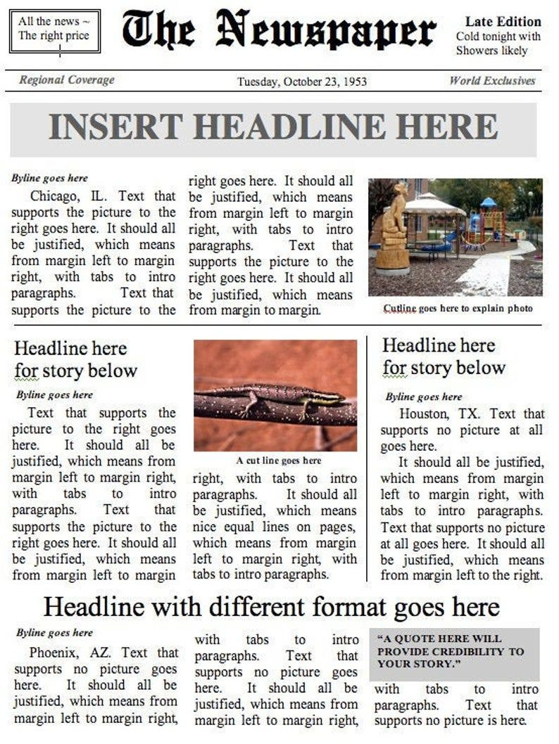 Front Page Newspaper Template Layout 1 Instant Download To Use In Word In Blank Newspaper Template For W Newspaper Template Newspaper Format Blank Newspaper
