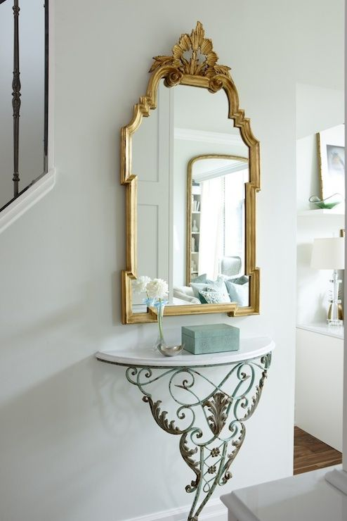 Pale Green Walls Paint Color Antique Marble Top Demilume Console Table And Gold Gilded Mirror