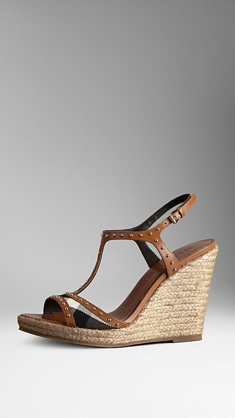 5427f1a8e875 Studded Check Espadrille Wedges