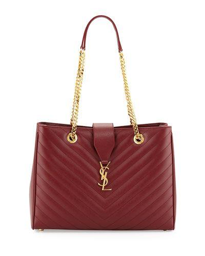 V2P4L Saint Laurent Monogram Medium Matelasse Calf Chain Tote Bag, Dark Red
