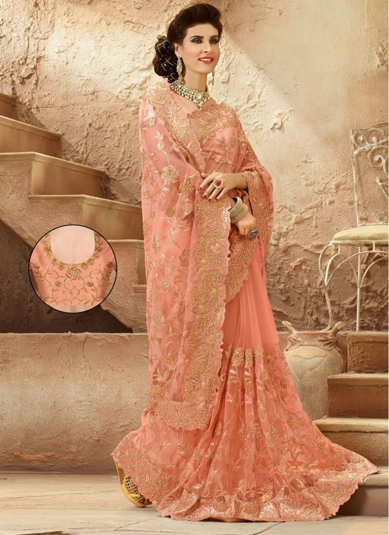 Sightly peach net designer partywear saree sarees pinterest