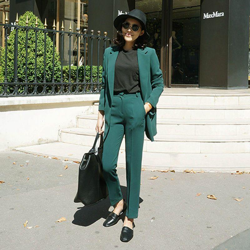 New Arrived Women Suit 2016 Fashion Slim Business Office Ol Dark