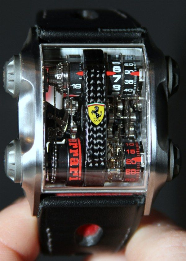 men scuderia black ferrari movement primato watch leather automatic s