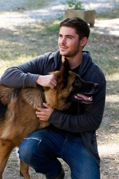 Celebrity Gsd Zac Efron With Rowdy The Dog Named Zeus In