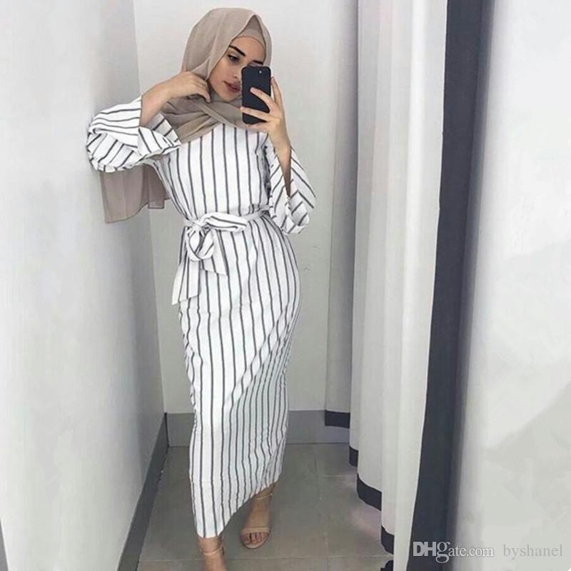 b695366d6d161 2019 Muslim Stripe Maxi Dress Trumpet Sleeve Abaya Long Skirt Robe ...