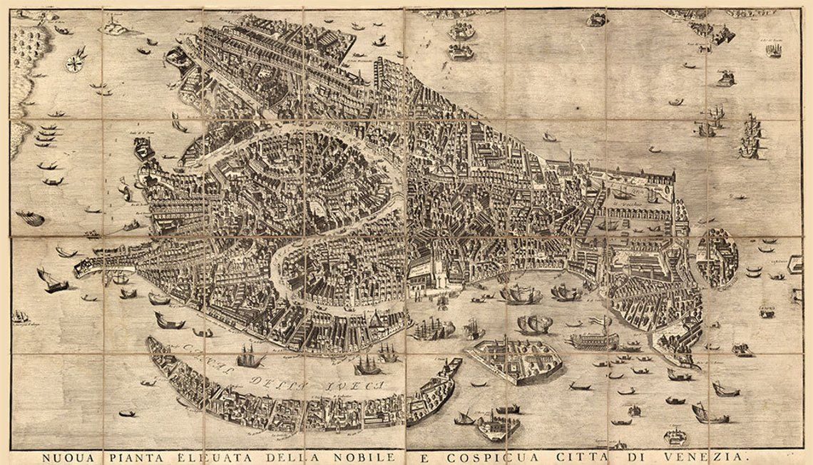 Map of Venice 1729 Vintage Venice map in 5 sizes up to ...