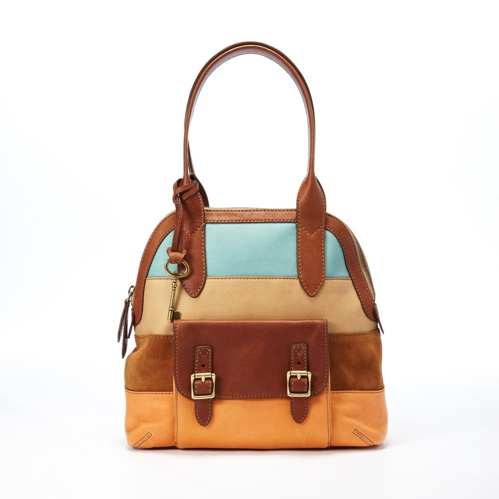 Vintage-style small distressed-look leather satchel bag from Yoshi, with top handle and shoulder / across body strap