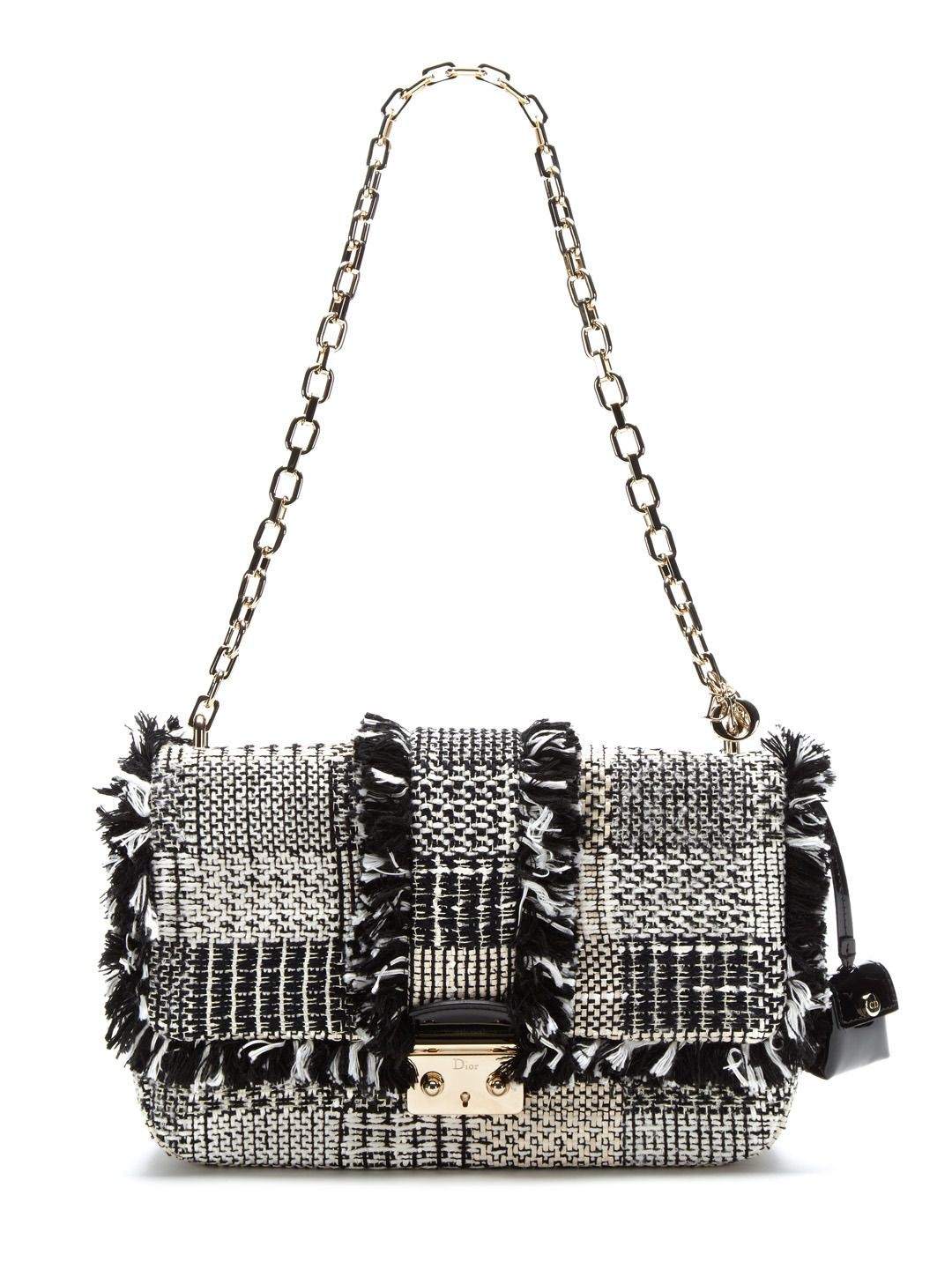 8aa2736c9bb9 Limited Edition Black and White Tweed Miss Dior Shoulder Flap Bag by  Christian Dior at Gilt