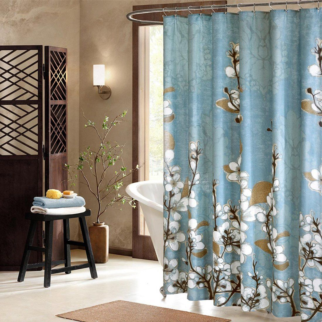 Amazon.com: DS BATH Hanakotoba Blue Shower Curtain,Flower Polyester ...