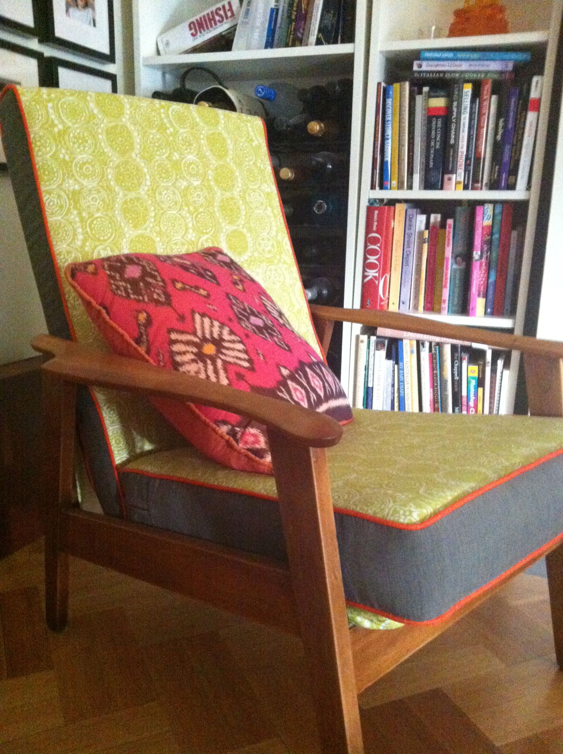 Retro armchair covered in No Chintz and Marimekko fabrics.