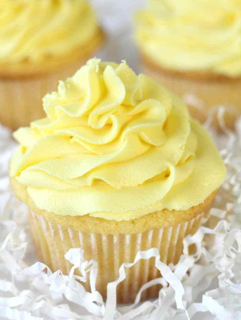 Lemon Sour Cream Cupcakes With Lemon Buttercream Recipe Sour Cream Cake Sour Cream Chocolate Cake Lemon Desserts