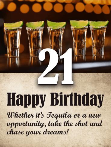 Tequila Shots Happy 21st Birthday Card Birthday Greeting Cards By Davia 21st Birthday Wishes 21st Birthday Cards Happy 21st Birthday