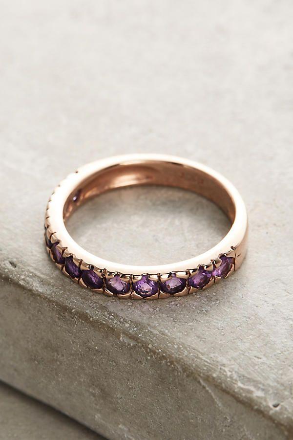 Thin Amethyst Stacking Ring
