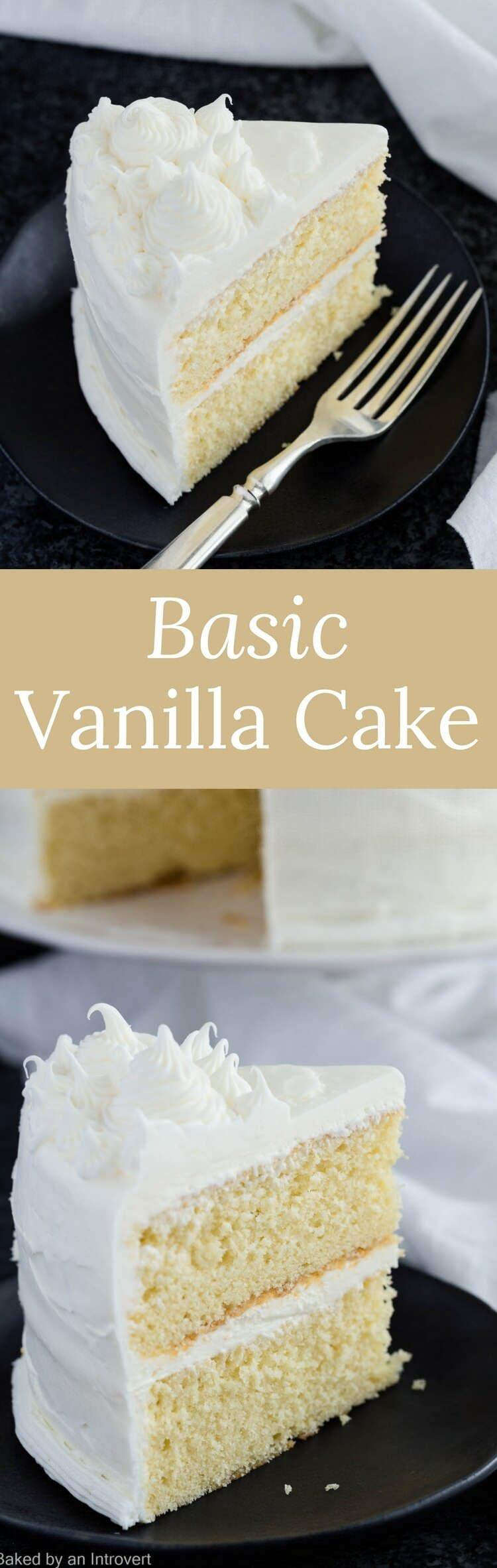 Basic Vanilla Cake Recipe   Cake   Easy   Dessert   Made from Scratch   Homemade via @introvertbaker