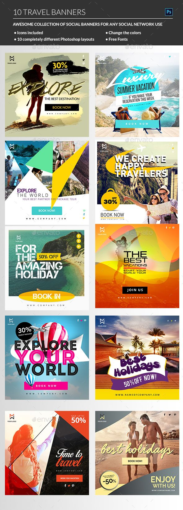 Travel Banners Template PSD Download here httpgraphicrivernetitem