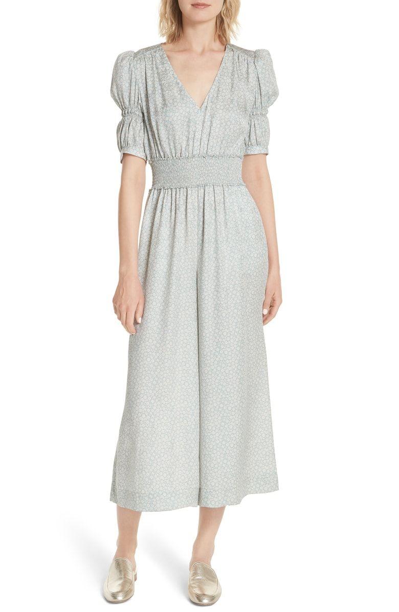 868d8abdfe Lauren Puff Sleeve Floral Silk Jumpsuit