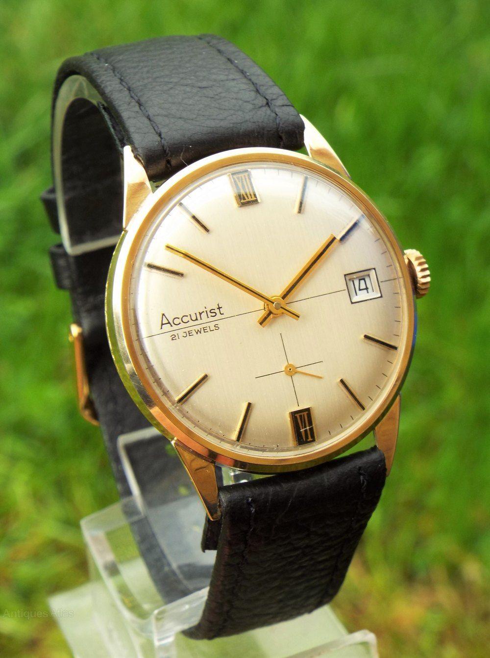 Antiques Atlas Gents 1972 9ct Gold Accurist Wrist Watch