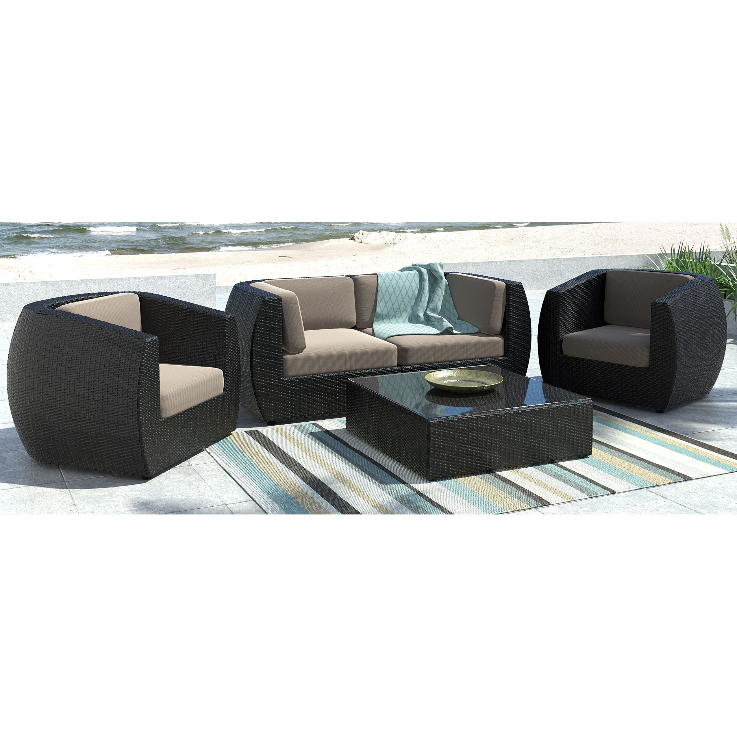 CorLiving Seattle Curved Sofa And Chair Patio Set