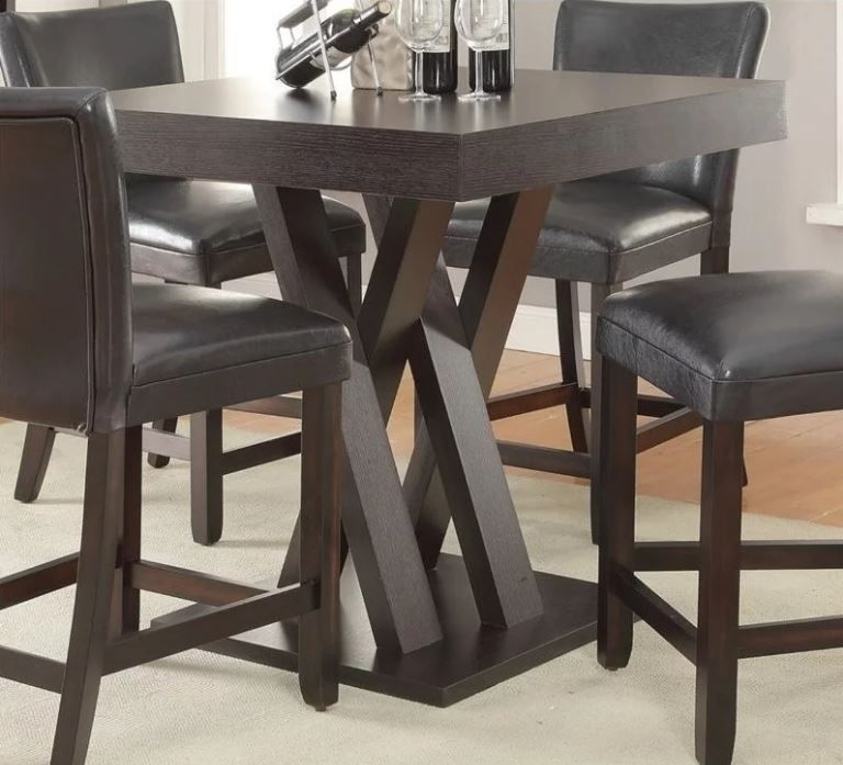 Tall Kitchen Table Square Bar Counter Height Dining Bistro ...