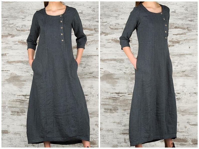 Hedendaags Dark Grey Long Linen Dress * 100% Pure Linen Loose Fitting Dress FQ-21