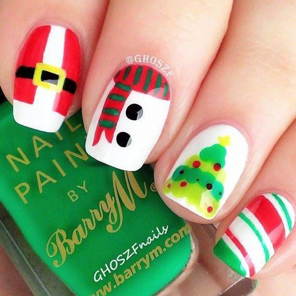40 Inspirational Winter Nails Designs 2017 | Uñas navidad, Diseños ...