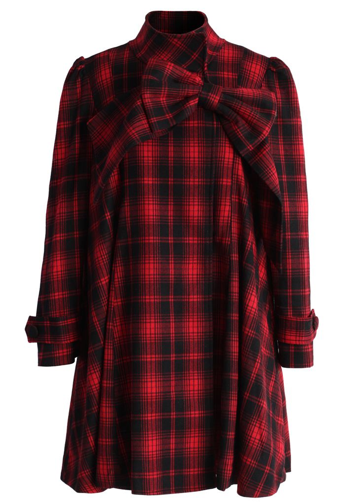 c520956e36 Red Tartan Dolly Dress with Big Bow - Retro