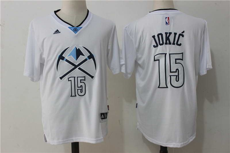 more photos 6beb1 aea60 $21 Denver Nuggets #15 Nikola Jokic White Short-Sleeved ...