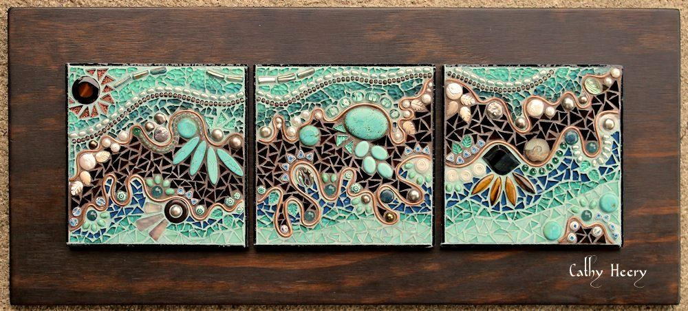 Turquoise Gemstone Pearls Copper Triptych Mosaic Stained