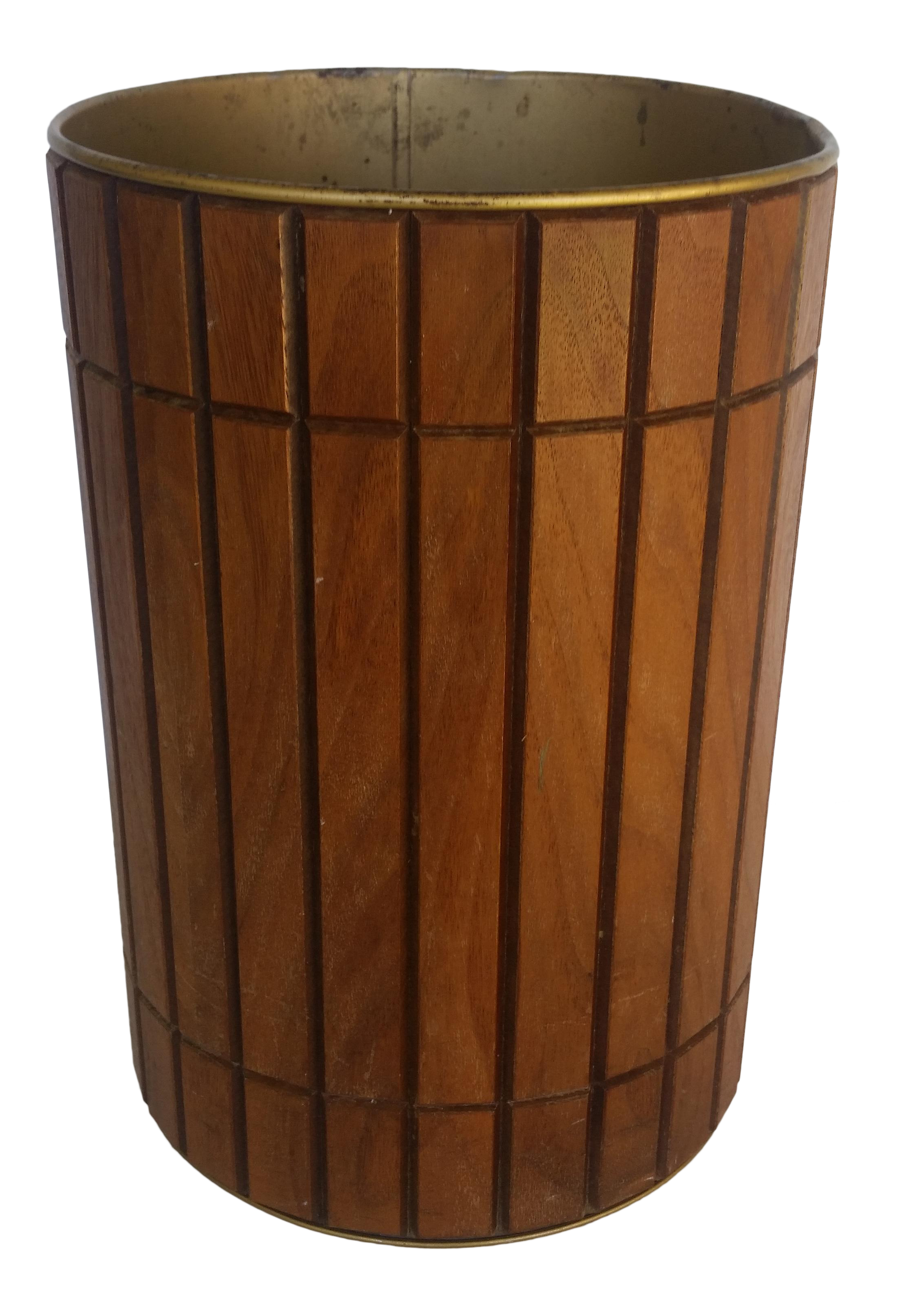 Vintage gruvwood trash can waste basket on chairish com